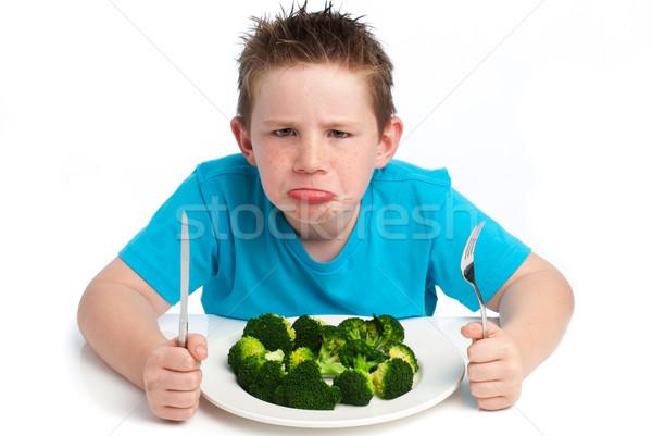 Değil mutlu yeme brokoli Stok fotoğraf © SLP_London