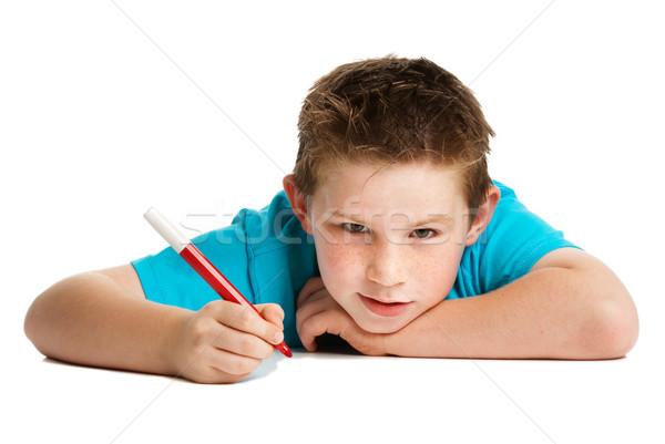 ストックフォト: 少年 · ペン · アーティスト · 思考 · 手 · スタジオ