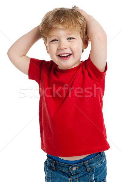 Sevimli erkek gülme gülen kırmızı Stok fotoğraf © SLP_London