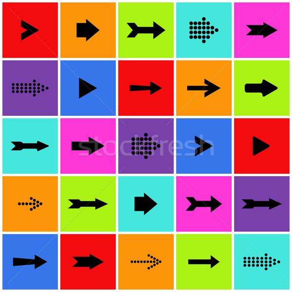 Ok işareti ikon vektör ayarlamak eps Stok fotoğraf © smarques27