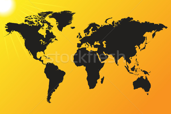 World map sun background Stock photo © smarques27