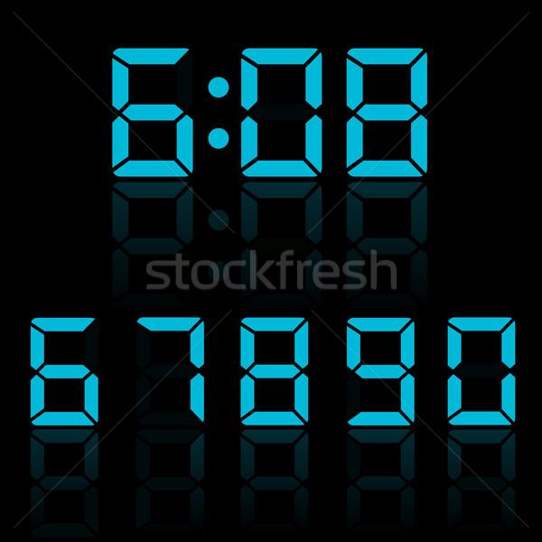 Blue clock digits vector illustration Stock photo © smarques27