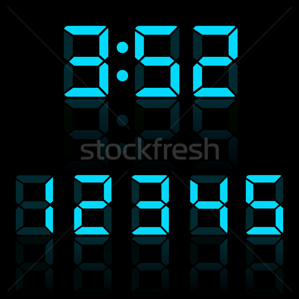 Blue clock digits vector illustration Stock photo © smarques27