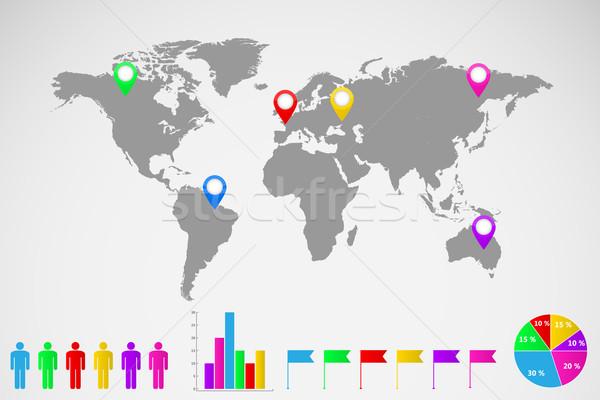 世界地図 インフォグラフィック 実例 ストックフォト © smarques27
