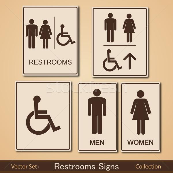 ストックフォト: トイレ · 標識 · ベクトル · コレクション · 女性 · 少女