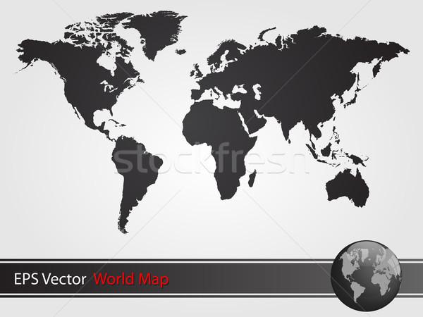 Black World Map Illustration Stock photo © smarques27