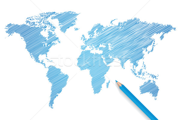 Colored pencil world map vector Stock photo © smarques27