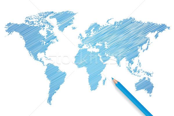 鉛筆 世界地図 ベクトル デザイン 世界 ストックフォト © smarques27