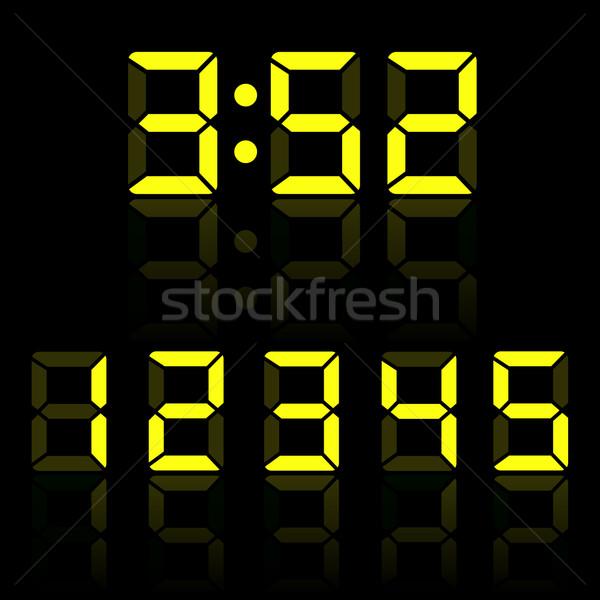 Yellow clock digits illustration Stock photo © smarques27