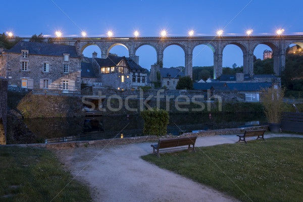 Fransa gece görmek nehir su yol Stok fotoğraf © smartin69
