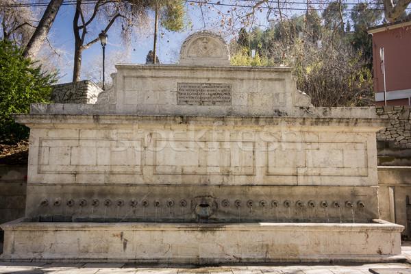 25 fontein Spanje muur slang Stockfoto © smartin69