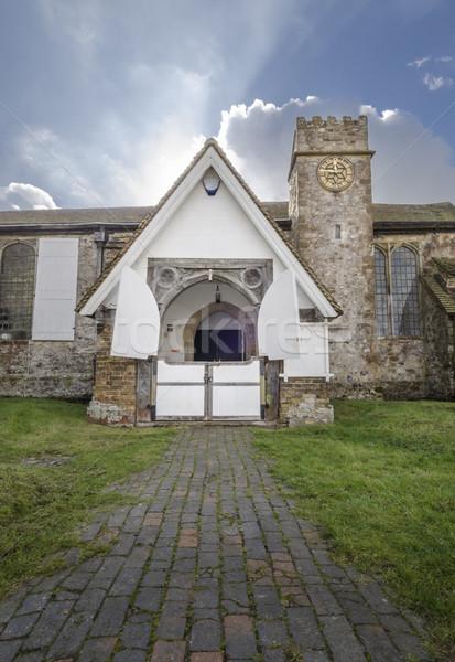 Kilise giriş Bina saat kapı mimari Stok fotoğraf © smartin69
