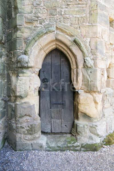 Eski ahşap kapı savaş manastır sussex Stok fotoğraf © smartin69
