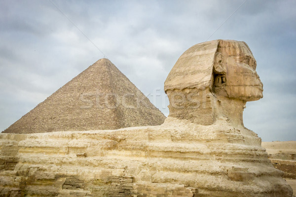 Stock photo: The Sphinx and Pyramid of Khufu