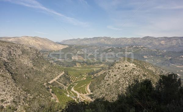 Völgy Valencia Spanyolország kilátás tájkép hegy Stock fotó © smartin69