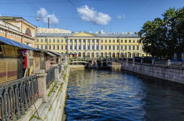 Kanal geri pazar gökyüzü su köprü Stok fotoğraf © smartin69