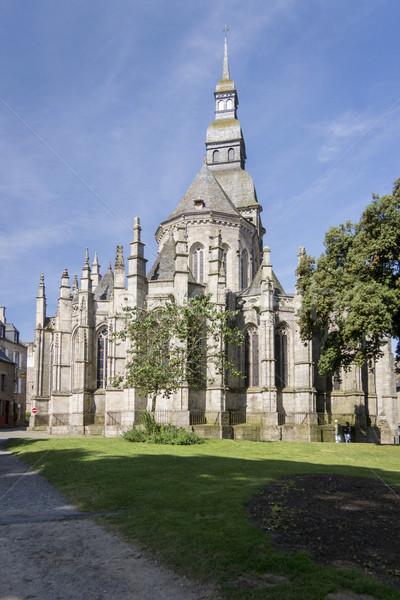 Kilise şehir Fransa binalar taş pencereler Stok fotoğraf © smartin69