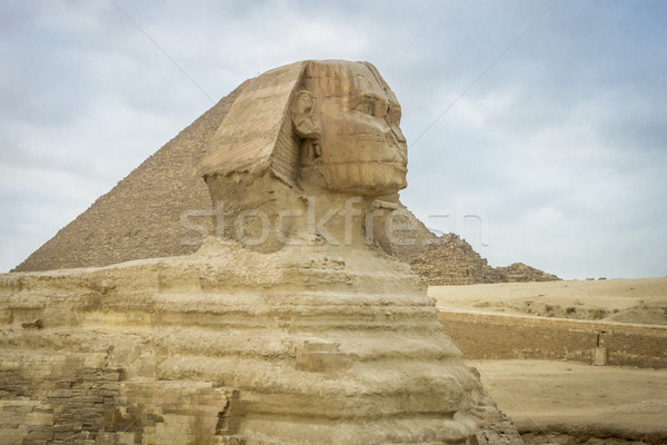 The Sphinx and Pyramid of Khufu Stock photo © smartin69