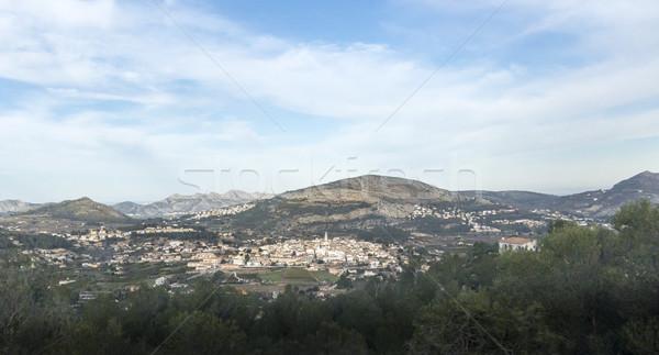 Görmek İspanya şehir altında dağlar pop Stok fotoğraf © smartin69