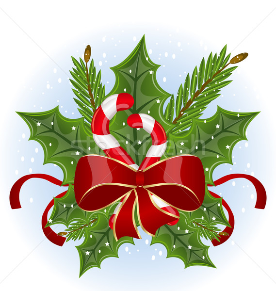 Christmas holly berry branches and bow isolated - vector Stock photo © smeagorl