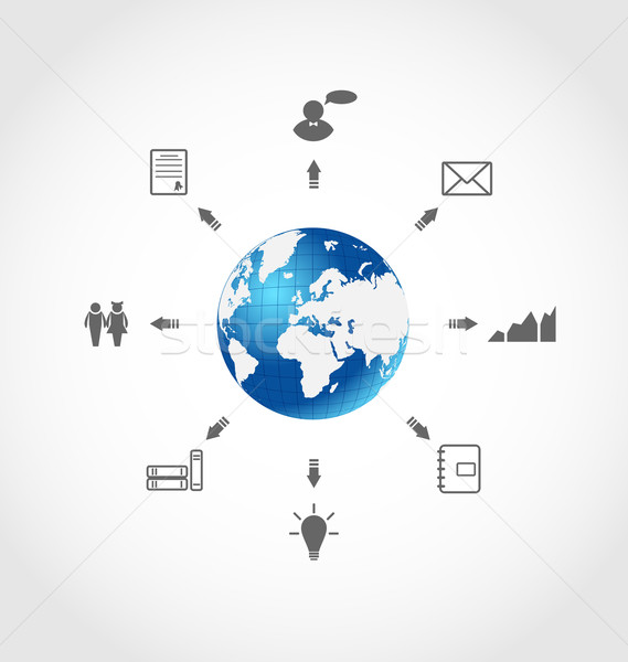 Global internet communication, set business pictograms Stock photo © smeagorl