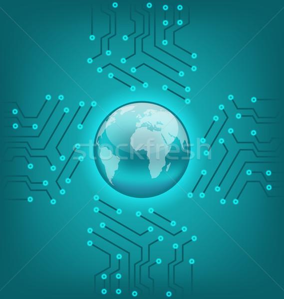 électronique circuit texture terre symbole illustration Photo stock © smeagorl