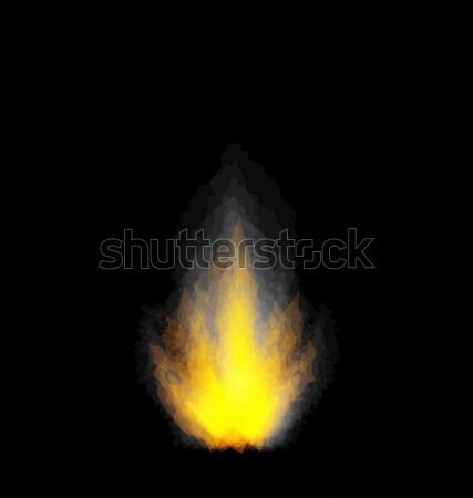 Burning fire flame on black background Stock photo © smeagorl