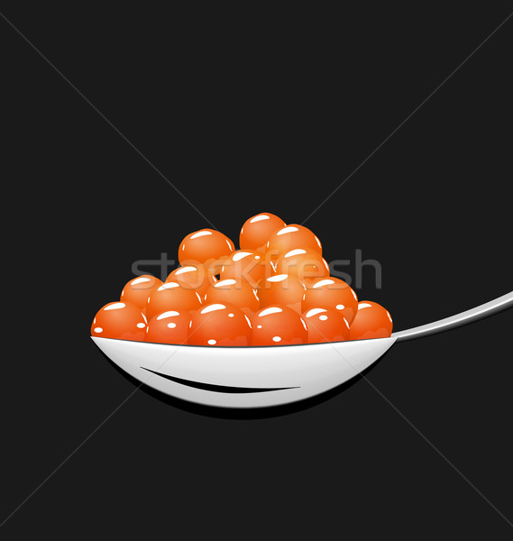 Teaspoon with red caviar isolated on black background Stock photo © smeagorl