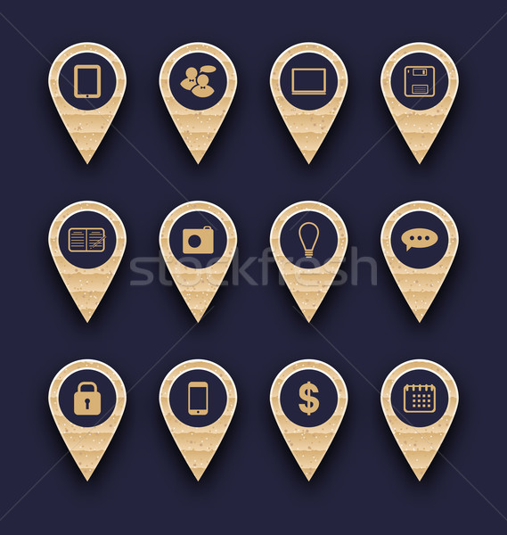 Set business pictogram icons for design your website Stock photo © smeagorl