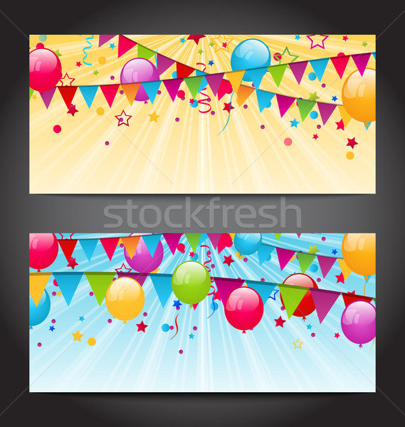 Abstract banners with colorful balloons, hanging flags and confe Stock photo © smeagorl