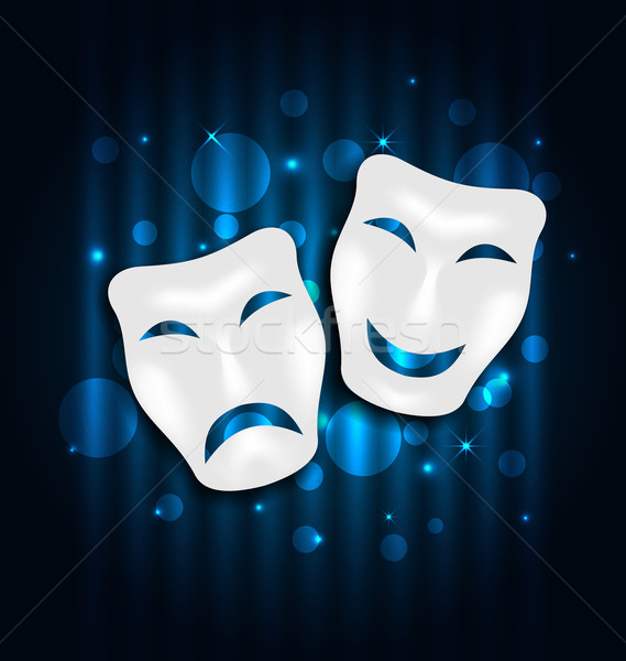 Comedy and tragedy theatre masks on blue shimmering  background Stock photo © smeagorl