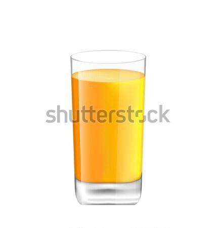 Stockfoto: Sinaasappelsap · glas · geïsoleerd · witte · illustratie · realistisch