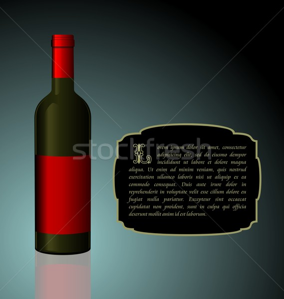 Illustration the elite wine bottle with red blank label Stock photo © smeagorl