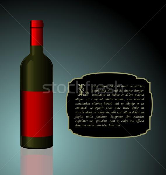 Ilustración élite botella de vino rojo etiqueta diseno Foto stock © smeagorl