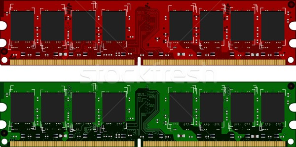 Two DDRII modules red and green Stock photo © smeagorl