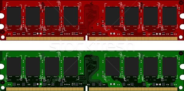 Iki kırmızı yeşil arka plan iletişim devre Stok fotoğraf © smeagorl