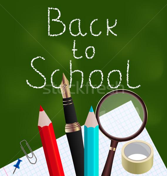 Blackboard kleurrijk schoolbenodigdheden illustratie school potlood Stockfoto © smeagorl