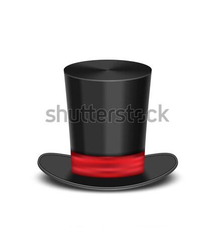Magie cilinder hoed schaduw geïsoleerd witte Stockfoto © smeagorl