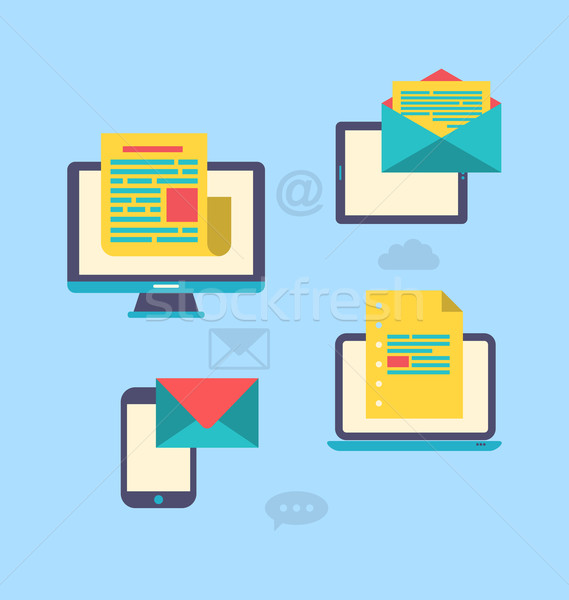 Concept of email marketing via electronic gadgets - newsletter a Stock photo © smeagorl