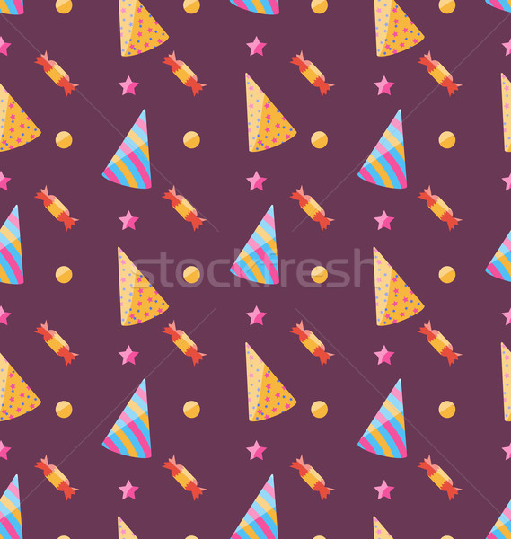Seamless Funny Texture with Party Hats and Sweets Stock photo © smeagorl