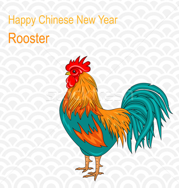Postcard with Rooster as Symbol Chinese New Year 2017 Stock photo © smeagorl