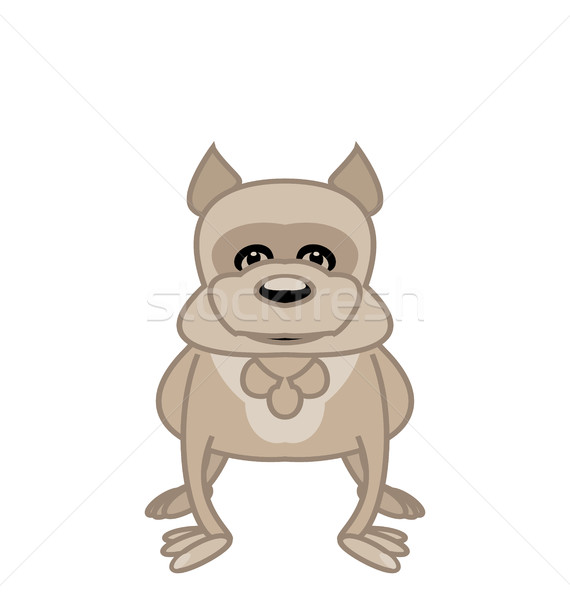 Bulldog standing in front of white background Stock photo © smeagorl