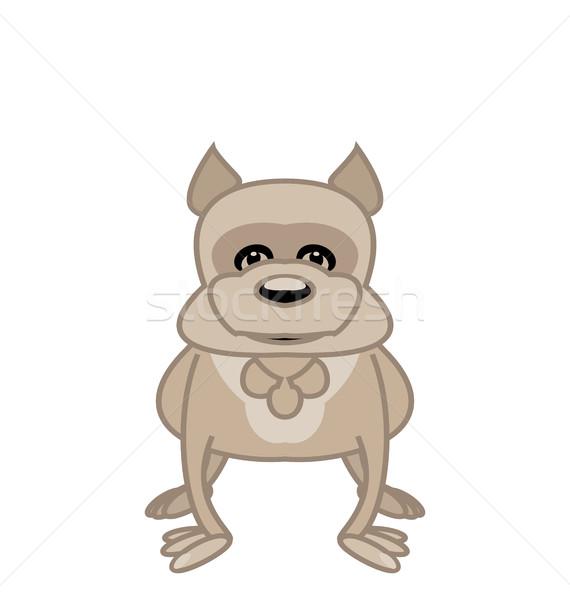 Stock foto: Bulldogge · stehen · weiß · Illustration · funny · Hund