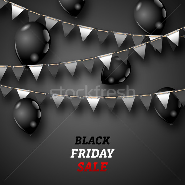 Black Friday Wallpaper with Shiny Balloons and Bunting Pennants Stock photo © smeagorl