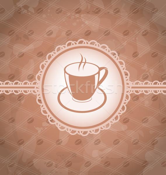 öreg grunge kávé címke csésze kávé Stock fotó © smeagorl