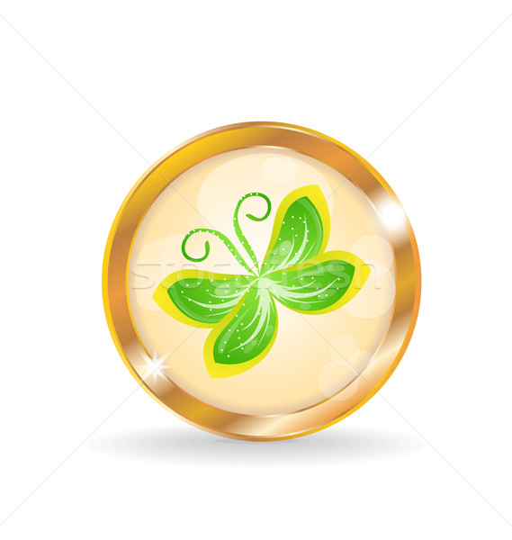 Golden circle label (button) with butterfly Stock photo © smeagorl