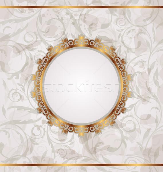 Or rétro cadre floral texture Photo stock © smeagorl