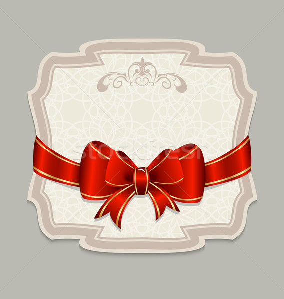 Vintage label with a red bow for design packing Stock photo © smeagorl
