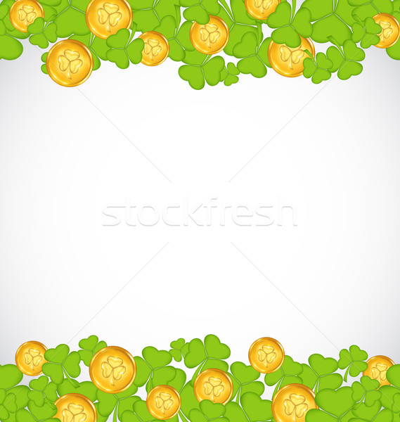 Greeting background with shamrocks and golden coins for St. Patr Stock photo © smeagorl