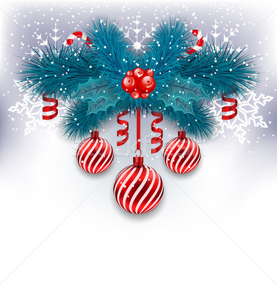 Christmas background with fir branches, glass balls and sweet ca Stock photo © smeagorl